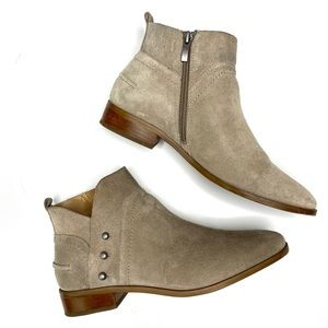 FRANCO SARTO Suede Leather Ankle Sip Boots Taupe 8